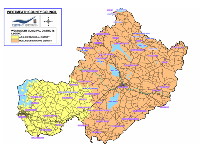 Reflective of Westmeath County Council Municipal District divisions